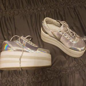 Silver and white YRU platform sneakers, 7